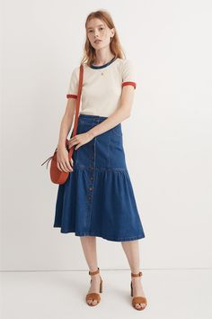 madewell colorblock ringer tee worn with denim bayview tiered skirt + the juno circle crossbody bag. call 866 544 1937 or email shopfirst@madewell.com to pre-order.