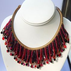 Vintage signed Hobe red and black beaded bib necklace