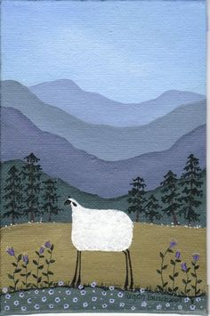 original folk art painting Mountain Sheep by Regan Tausch