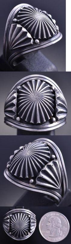 Rings 98500: Size 12 All Silver Sunburst Navajo Stamp Design Men S Ring Derrick Gordon 8C12s -> BUY IT NOW ONLY: $165 on eBay!