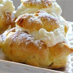 Cream Puffs / this is the filling I make:  1 package of instant vanilla pudding, 1 cup of milk, 1 cup of heavy cream, 1 tsp vanilla blend with electric mixer till thickened. Then I top them with chocolate glaze: 1 cup chocolate chips 2 tblsp butter 2 tblsp corn starch or corn syrup,3 tblsp milk boil till thickened. It's delicious!! cook, sweet, food, puff recip, yummi, best reviewed desserts, cream puffs recipe, pastri, treat