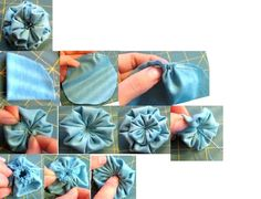 fabric flower using a yo-yo technique craft-ideas