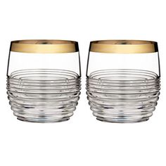 Mixology Mad Men Edition Circon Double Old Fashioned with Platinum Band, Pair - Discontinued - Waterford Waterford Crystal Glasses, Glass Bar, Whiskey Glasses, Old Fashioned Glass, Gold Bands, Mad Men, Whisky, Crystals, Drinkware