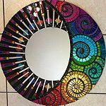 Handmade Celestial rainbow mirror By Solsisters di Sol Sister Designs Mosaic Wall Art, Mirror Mosaic, Mosaic Diy, Mosaic Crafts, Mosaic Projects, Mosaic Glass, Mirror Painting, Mirror Art, Mosaic Designs