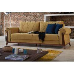 Corrigan Studio Lambert Sleeper Sofa by Perla Furniture Upholstery: Mustard Yellow, Frame Finish: Chestnut