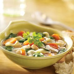 Tuscan chicken soup. You can use a rotisserie chicken or those cooked chicken strips you can buy for salads. We doubled the recipe so I could take this to work for lunches every day last week.