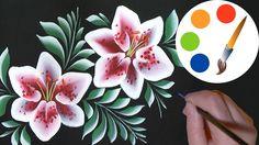 How to paint flowers, Lilies on a black, One Stroke, irishkalia