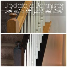 Updating a bannister by createandbabble.com. ||  ♡ THIS IS EXACTLY WHAT I WANT TO DO WITH OURS!!!  IN FACT, ALL THE WOODWORK!  ♥A