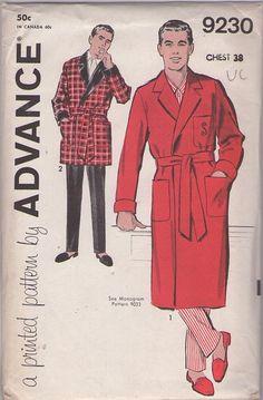 MOMSPatterns 50s men's robe and smoking jacket vintage sewing pattern