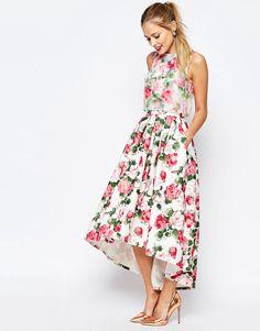 Bild 4 von ASOS SALON–  Summer Rose – Mittellanges Organza-Kleid mit kurzem Oberteil
