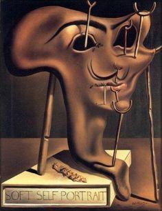 salvador DALI 1941 autoportrait mou avec du lard grilé  s'auto-caricature en peintre surréaliste.                                                                                                                                                     Plus