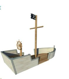Wooden play pirate ship. I would also add a plank along the ground