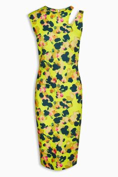 fd01ec8cde Ladies Ex Next Yellow Sleeveless Bodycon Floral Animal Slash Shoulder Dress  8-16