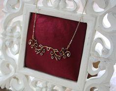 Gold laser cut leather Art Nouveau necklace by Deccoangel on Etsy