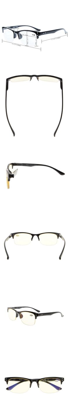 CG088 Eyekepper Plastic Frame Spring Hinges Half-rim Orange Tinted Lenses Computer Reading Glasses Readers Eyeglasses
