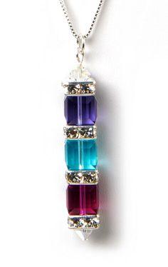 Swarovski 3 cube Veritcle Necklace by sparkleezcrystals on Etsy