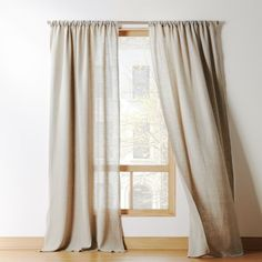 pure French/Belgian linen weaves a light-filtering sheer with drape so fine. Full-length, fashion-forward in forest green. Curtain panel flows long to floor or hems easy from overlock stitching at edge. Grey Linen Curtains, Leaf Curtains, Yellow Curtains, Printed Curtains, Modern Curtains, Rustic Curtains, Velvet Curtains, Colorful Curtains, White Curtains