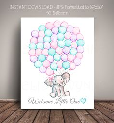 """Printable INSTANT Download - JPG - 16""""x20"""" 50 Cotton Candy Balloons Elephant Baby Shower Guest Book Alternative - Digital File Only by MelissaWynneDesigns on Etsy"""