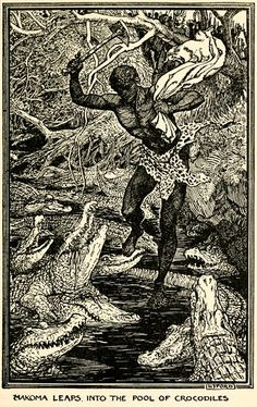 The Story of the Hero Makoma - The Orange Fairy Book by Andrew Lang, 1906