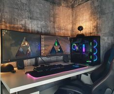 Bedroom Gaming Setup, Gaming Room Setup, Pc Setup, Desk Setup, Gamer Room, Pc Gamer, Modern Tv Room, Dual Monitor Setup, Desk Inspiration