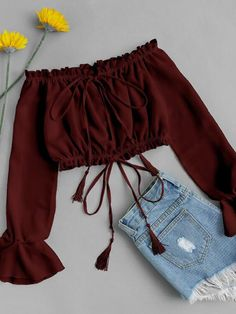 Burgundy Off Shoulder Split Front Floral Print Tassel Tie Crop Blouse
