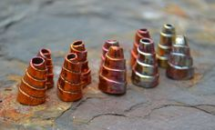 Handmade Copper spiral end caps for your necklace or bracelet creations. String multiple strands through these to cap off the ends and add your closure.