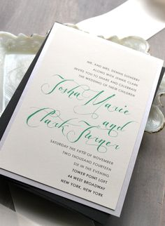Mint Script - Modern Wedding Invitations, Elegant Wedding Invitation, Mint Wedding - Sample