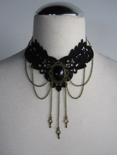 Choker Black Lace Necklace Little Keys Victorian Steampunk Gothic on Etsy, $45.00