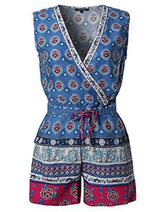 New Trending Pants: Casual Summer Bohemian Print Surplice Neckline Sleeveless Romper Blue Size M. Casual Summer Bohemian Print Surplice Neckline Sleeveless Romper Blue Size M  Special Offer: $15.99  299 Reviews Awesome21 is a company which carries professionally in womenswear. We specialize in basic to trendy items which will interest all the ladies and women looking for casual or...