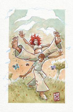 Encres : Capoeira - 279 PRINTEMPS ! / SPRING ! [ #capoeira #watercolor #illustration ]