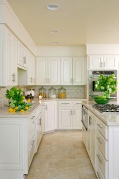 Kitchens With White Cabinets And Tile Floors love the soft white cabinets & hardware. | for the home