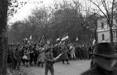 """Andrássy út, jobbra a Munkácsy Mihály utca torkolata. 1956. október 25-e délután, """"véres-zászlós"""" tüntetés. Utca, Budapest, Revolution, Dolores Park, Street View, History, Travel, Beautiful, Historia"""