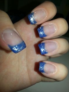 Blue sparkle French tips
