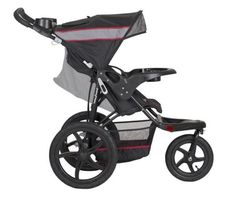"""Baby Trend Expedition Jogger Stroller, Millennium: The locking swivel wheel allows you to lock the front wheel in place when jogging and unlock it for easy low-speed strolling. This multi-position stroller features a child tray with two cup holders and a convenient parent tray with covered storage and cup holders. With its 16"""" rear and 12"""" front all-terrain, rubber bicycle tires, this stroller is easy to push and offer a smooth and comfortable ride for years to come."""