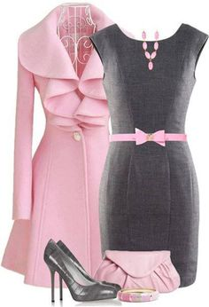 Workplace Flare: Pink and Grey!! Im just not crazy about the ruffles on the coat
