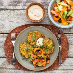 Kumara Rosti with Moroccan Salad and Hummus