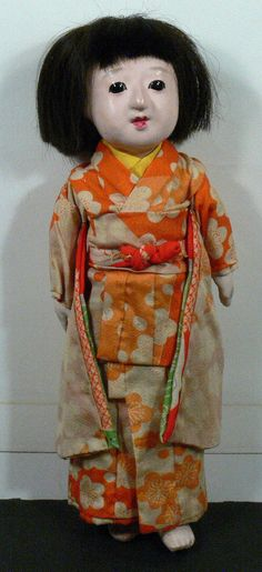 "Vintage Japanese Geisha Ichimatsu Ningyo Gofun? Female Doll in Kimono 13.5"" | eBay"