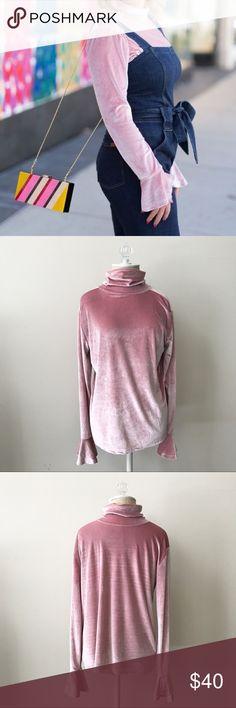 Pink Velvet Top NWT💕💕💕 Pink velvet turtleneck top with cute sleeve detail. Brand new, never worn!                       •n o  t r a d e s• •s m o k e  f r e e / p e t  f r e e  h o m e•   •s a m e / n e x t  d a y  s h i p p i n g• Tops
