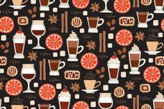 Vector seamless pattern on the theme of coffee. Pattern with hand drawn coffee drinks, candy, sugar, spices, oranges on black color. Background for use in design, wallpaper, fabric, textile,