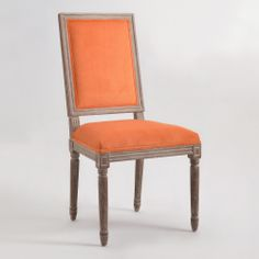 SPICE SQUARE-BACK PAIGE DINING CHAIRS, SET OF 2 $399.98, World Market, louis chair, orange microfiber velvet upholstery, oak distressed finish, SKU# 10008034 $399.98