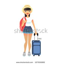Travel female tourist standing with luggage. Young flat woman wearing casual clothes with baggage at airport. Vector cute lady with travel bag and backpack. Travel lifestyle concept.