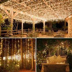 Outdoor Fairy Lights, String Lights Outdoor, Starry String Lights, Garden Fairy Lights, Fairies Garden, Light String, Outdoor Wedding Decorations, Backyard Wedding Lighting, Outdoor Night Wedding