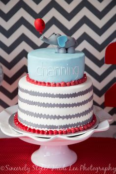 Adorable chevron cake by Stacked Cake by Lamay and Jennifer