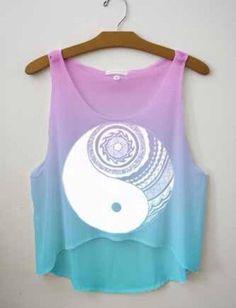 Aztec Yin Yang Full Print Crop Top