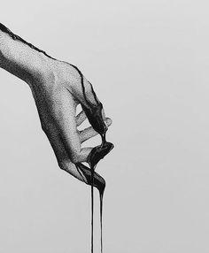 ink in bl♾d (dotwork)  Dark Art Drawings, Pencil Art Drawings, Dotted Drawings, Art Drawings Sketches, Cool Drawings, Ink Pen Art, Stippling Art, Sad Art, Black And White Illustration