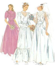 Wedding Dress Pattern Bridal Sewing by SuesUpcyclednVintage