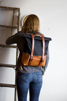 Toile cirée toile ciré et en cuir sac à dos sac à dos par AwlSnap