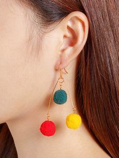Shop Pom Pom Design Drop Earrings at ROMWE, discover more fashion styles online. Ear Jewelry, Cute Jewelry, Jewelery, Jewelry Making, Unique Jewelry, Dyi Earrings, Bridal Earrings, Handmade Bracelets, Handmade Jewelry