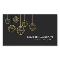 Elegant Gold Paper Lanterns Business Card Template For Event Planner Party Wedding Coordinators
