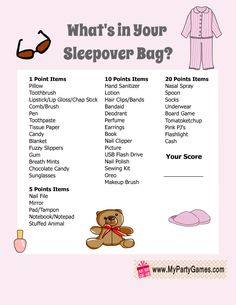 sleepover essentials Free Printable Whats in your Sleepover Bag Slumber Party Game for Girls Sleepover Bag, Birthday Sleepover Ideas, Sleepover Party Games, Things To Do At A Sleepover, Sleepover Activities, Birthday Party For Teens, Slumber Parties, Games For Sleepovers, Adult Slumber Party